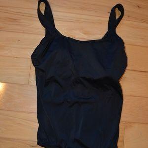 Lands end bathing suit 12 swimsuit black 1pc. padd